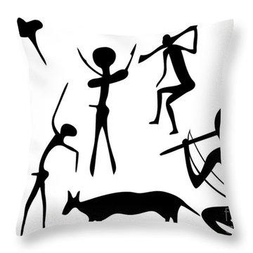 Primitive Art - Various Figures Throw Pillow by Michal Boubin