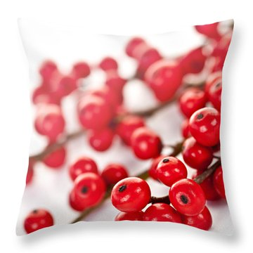 Red Christmas Berries Throw Pillow by Elena Elisseeva