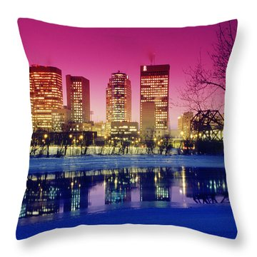 Red River And Downtown Winnipeg Throw Pillow by Dave Reede