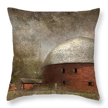 Route 66 Round Barn Throw Pillow by Betty LaRue
