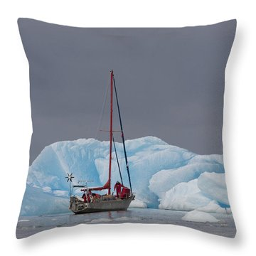 Sail Boat In Laguna San Rafael, Laguna Throw Pillow by Peter Langer