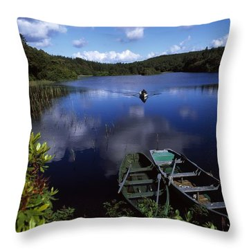 Salmon Fishing, Ballinahinch Throw Pillow by The Irish Image Collection