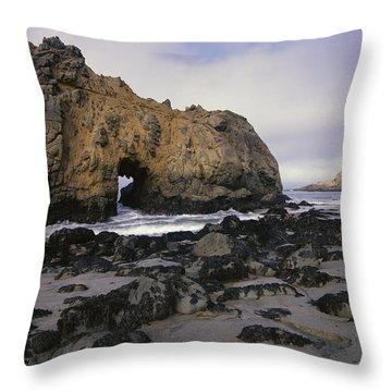 Sea Arch At Pfeiffer Beach Big Sur Throw Pillow by Tim Fitzharris