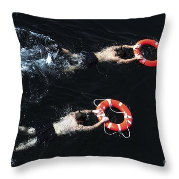 Search And Rescue Swimmers Throw Pillow by Stocktrek Images