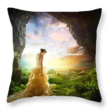 Solitary View Throw Pillow by Mary Hood