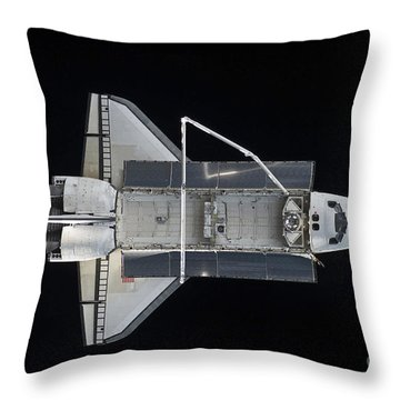 Space Shuttle Atlantis Backdropped Throw Pillow by Stocktrek Images