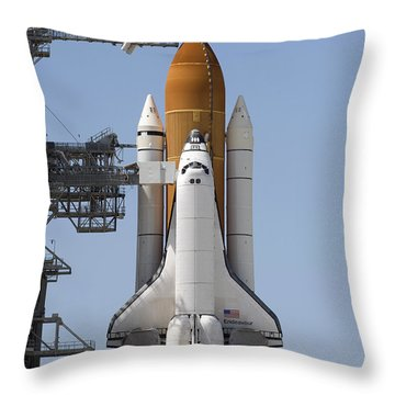 Space Shuttle Endeavour Sits Ready Throw Pillow by Stocktrek Images