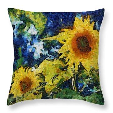 Sunflowers Throw Pillow by Michelle Calkins