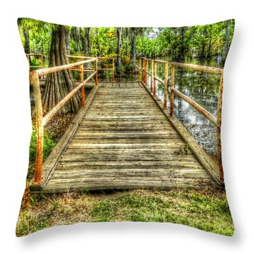 Swamp Dock Throw Pillow by Ester  Rogers