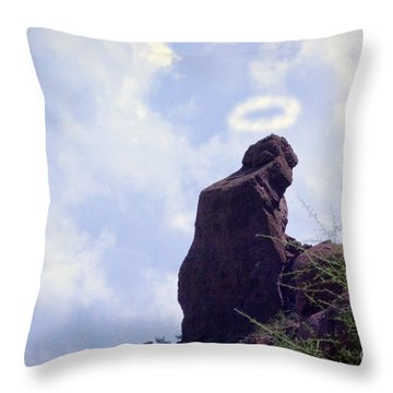 The Praying Monk With Halo - Camelback Mountain Throw Pillow by James BO  Insogna