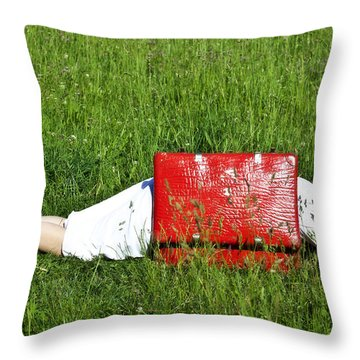 The Red Suitcase Throw Pillow by Joana Kruse