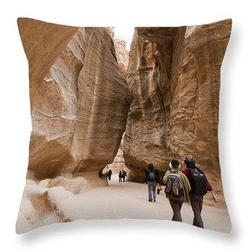 The Slot Canyons Leading Into Petra Throw Pillow by Taylor S. Kennedy