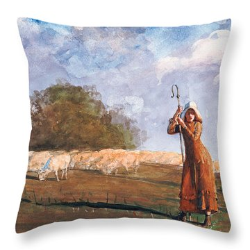 The Young Shepherdess Throw Pillow by Winslow Homer