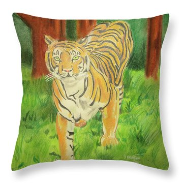 Tiger On The Prowl Throw Pillow by John Keaton