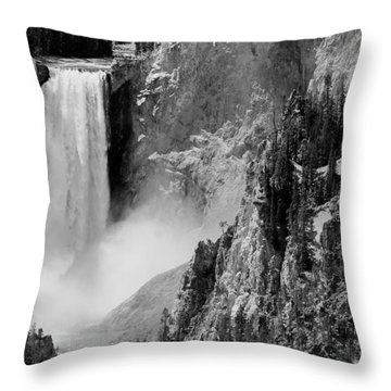 Yellowstone Waterfalls In Black And White Throw Pillow by Sebastian Musial