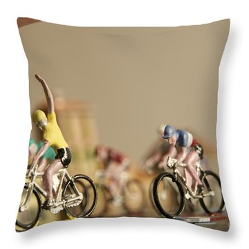 Cyclists Throw Pillow by Bernard Jaubert