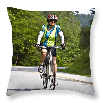 Bicycle Ride Across Georgia Throw Pillow by Susan Leggett