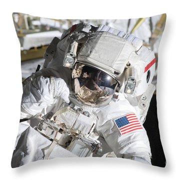 Astronaut Participates Throw Pillow by Stocktrek Images