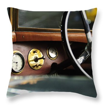 1921 Bentley  Instruments And Steering Wheel Throw Pillow by Jill Reger