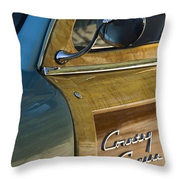 1951 Ford Woodie Country Sedan Throw Pillow by Jill Reger