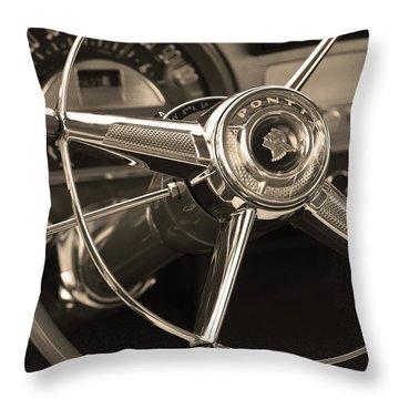 1953 Pontiac Steering Wheel - Sepia Throw Pillow by Jill Reger