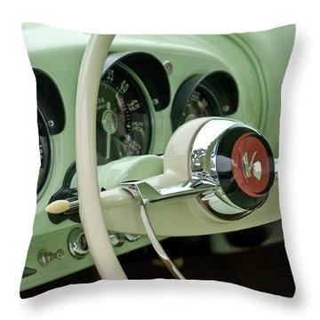 1954 Kaiser Darrin Steering Wheel Throw Pillow by Jill Reger