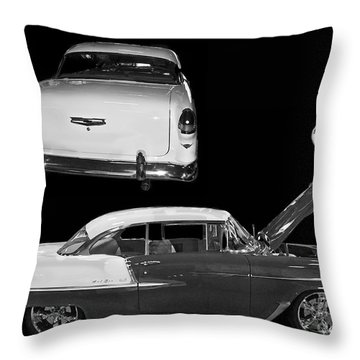 1955 Chevy Bel Air 2 Door Hard Top Throw Pillow by Tim Mulina