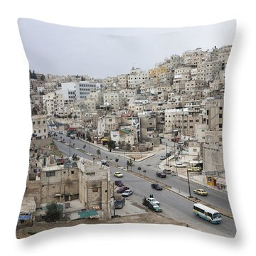A Street Scene In Amman, Jordan Throw Pillow by Taylor S. Kennedy