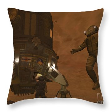 Artists Concept Of Astronauts Exploring Throw Pillow by Walter Myers
