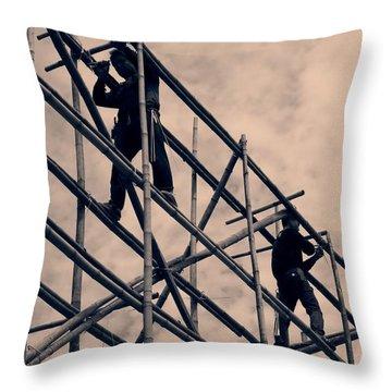 Bamboo Scaffolding Throw Pillow by Yali Shi