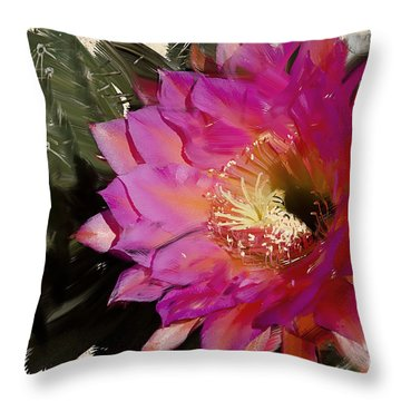 Cactus Flower  Throw Pillow by Jim and Emily Bush