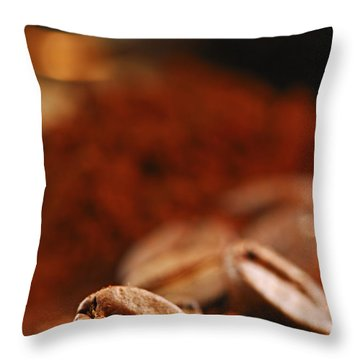 Coffee Beans And Ground Coffee Throw Pillow by Elena Elisseeva