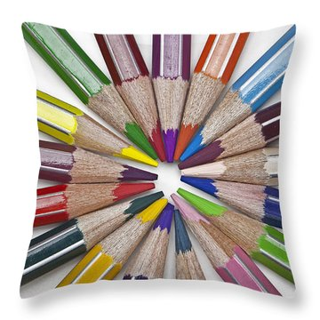 Coloured Pencil Throw Pillow by Joana Kruse