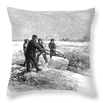 Cutting Ice, C1870 Throw Pillow by Granger