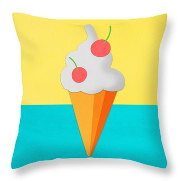 Ice Cream On Hand Made Paper Throw Pillow by Setsiri Silapasuwanchai