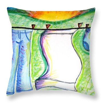 Laundry Day Throw Pillow by Susan George