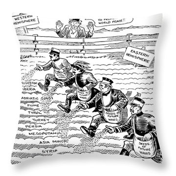 League Of Nations Cartoon Throw Pillow by Granger