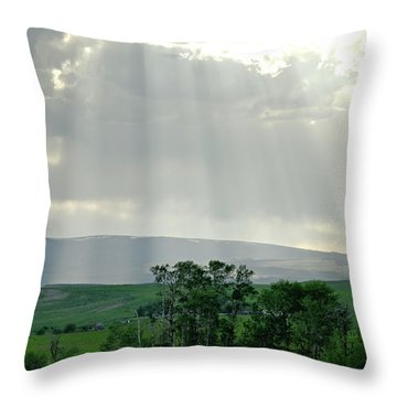 Rain Sun Rays Throw Pillow by Roderick Bley