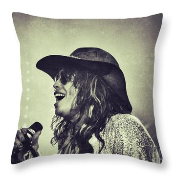 Steven Tyler Throw Pillow by Traci Cottingham