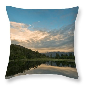 Sunrise Above A Lake On A Wind Still Morning Throw Pillow by Ulrich Schade