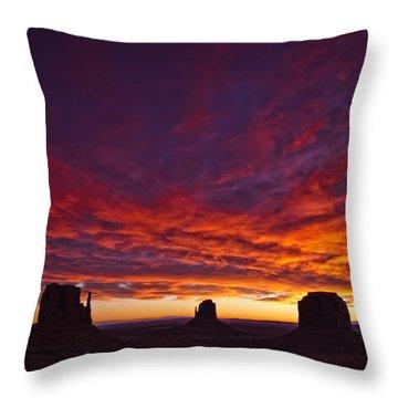 Sunrise Over Monument Valley, Arizona Throw Pillow by Robert Postma