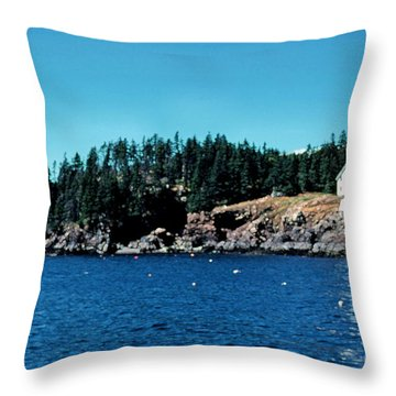 Swans Island Lighthouse Throw Pillow by Thomas R Fletcher