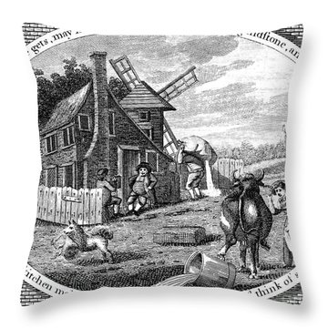 Poor Richard Illustrated Throw Pillow by Granger