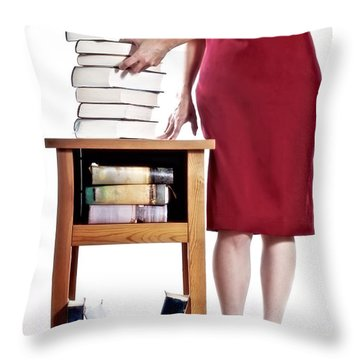 Books Throw Pillow by Joana Kruse