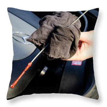 Oil Check Throw Pillow by Photo Researchers