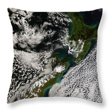 Satellite View Of New Zealand Throw Pillow by Stocktrek Images