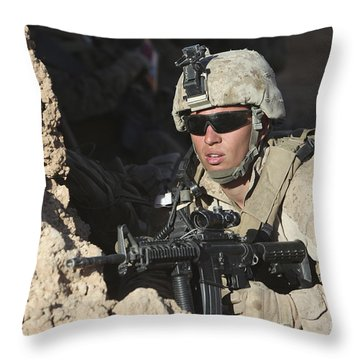 U.s. Marine Provides Security Throw Pillow by Stocktrek Images