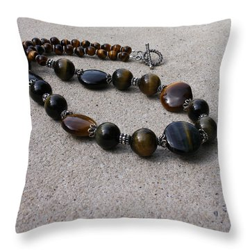 3595 Tigereye And Bali Sterling Silver Necklace Throw Pillow by Teresa Mucha