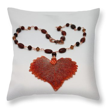 3610 Iridescent Copper Plated Cottonwood Leaf Pendant Necklace Throw Pillow by Teresa Mucha