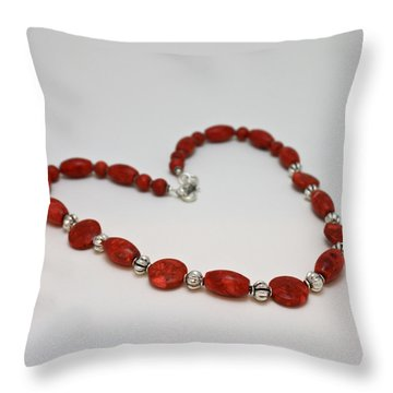 3612 Red Coral Necklace Throw Pillow by Teresa Mucha